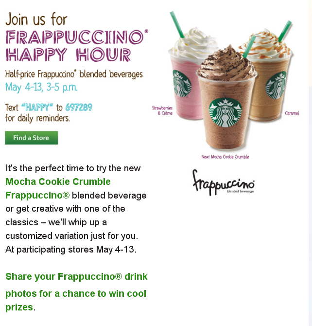 Starbucks SMS Happy Frappucino Hour