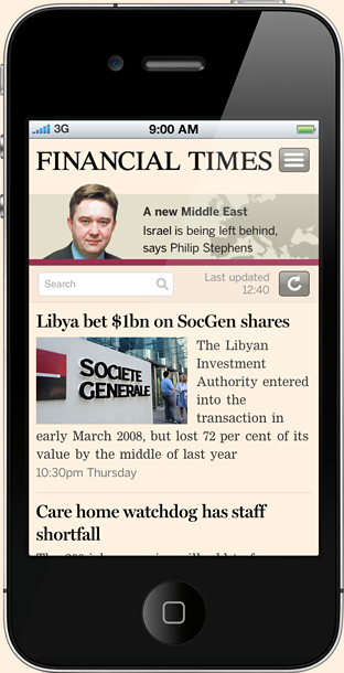 Financial Times of London HTML5 mobile web app mobile websites SMS marketing mobile marketing