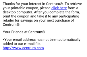 Centrum e-mail Screenshot